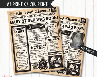 70th Birthday Poster, 70th Birthday Newspaper - Back in 1948, 70th Anniversary Poster. Digital OR Printed. 70th Birthday Gift.