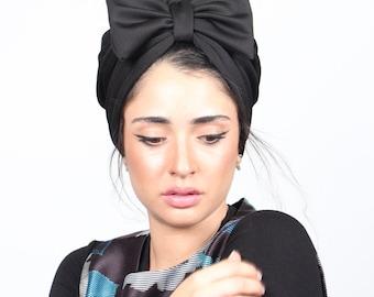 turban bow hat, black turban hat, chemo hat, women's turban, turban with bow, fashion turban, hair turban, turban headwrap, turban hi