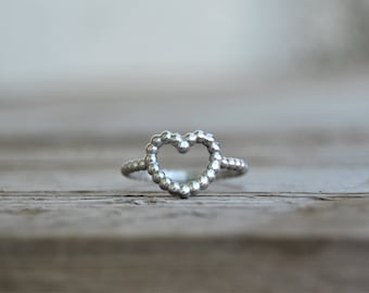 Heart shaped ring Sterling silver ring Beaded jewelry Statement ring Inspirational Heart ring Dainty ring Promise rings Bridesmaid gift