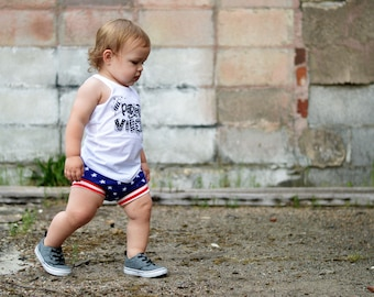 Stars with Stripes Patriotic Shorties - Bummies - Baby shorts - Toddler shorts - USA - American Flag - Baby bloomers - Red, white, blue