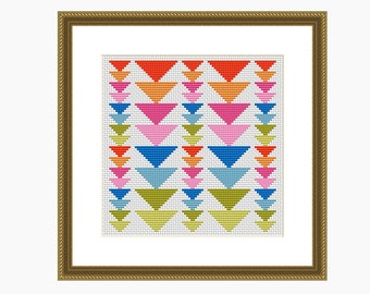 Cross stitch pattern, Modern cross stitch, GEOMETRIC TRIANGLES cross stitch chart, Instant Download PDF
