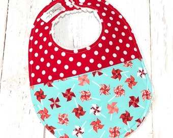 Ready To Ship - Pinwheel Baby Bib for Girls - 1 Single Chenille Bib - Duet Collection - Pink, Aqua, Turquoise, Red - PINWHEELS