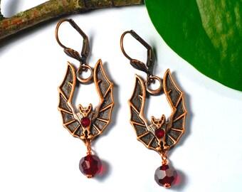 Earrings, bat, copper, garnet red, gothic, steampunk, Victorian
