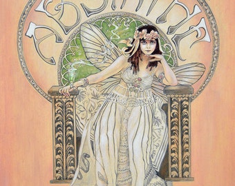 Absinthe Fairy Theda Bara Art Nouveau Fine Art Illustration Print 8x10 or 8.5x11 Inches