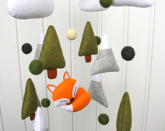 Fox baby mobile Woodland mobile Forest mobile Boy mobile fox Animal mobile Baby girl mobile Felt crib mobile Mountain cloud mobile