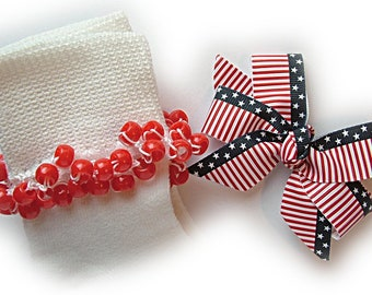 Kathy's Beaded Socks - Old Glory Socks and Hairbow, girls socks, red socks, pony bead socks, school socks, star socks, striped socks
