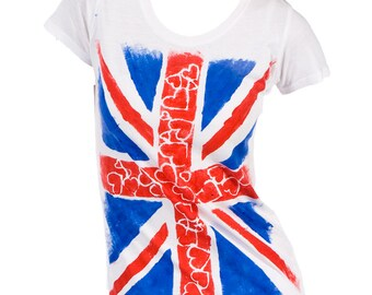 Union Jack Flag Heart T-shirt