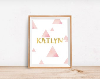 Personalized Pink and Gold Wall Art Girls Nursery Room Decor