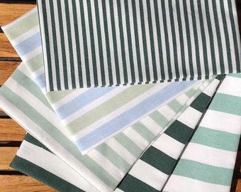 "Preloved, precut, vintage fat quarters. Green and white stripes. ""Polka Mint"" 5 pieces."