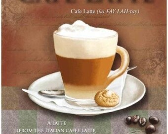 Coffee Caffe Latte, Cafe, Bar, Pubs, Restaurant & Kitchen, Small Metal/Tin Sign