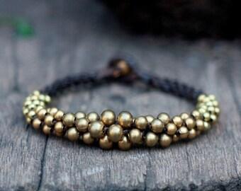 Ball Brass Beads Woven Bracelet