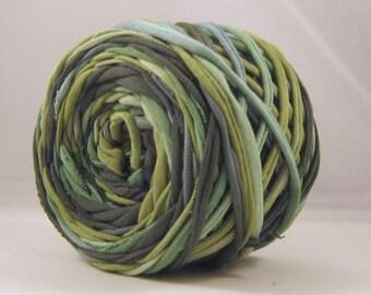 T Shirt Yarn,  Hand Dyed, 60 yards, Jungle-Apple/Kelly Green/Dark Green, Green T-shirt Yarn, Green Tshirt Yarn