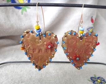 Earrings Large Brass Hearts