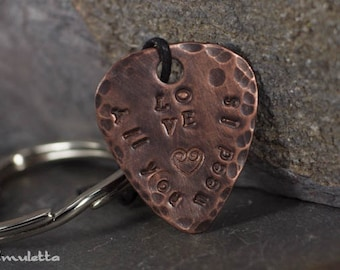 All you need is love - Personalized Guitar gift - customized guitar pick keychain for guitar lovers - hand stamped copper keychains