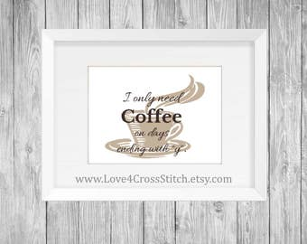 Coffee Cross Stitch Pattern Modern, Funny Cross Stitch, Cross Stitch Coffee, PDF Pattern, Cross Stitch Pattern Funny, House Warming