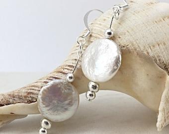 Pearl earrings, freshwater pearls, bridesmaid gift ideas, pearl drop earrings, bridal earrings, handmade silver earrings, artisan jewelry