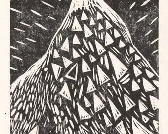 Mountain Lino Print