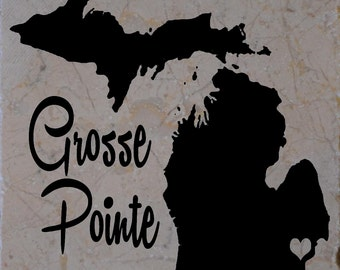 Set of 4 Grosse Pointe Michigan Coasters