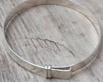 Vintage sterling silver engraved slide bangle