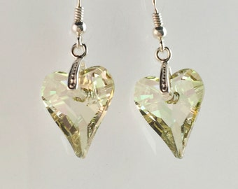 Swarovski Crystal Heart Earrings, Sterling Silver Earrings, Crystal Prom earrings Luminous Green