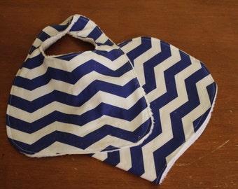 Blue chevron baby bib and burp cloth set