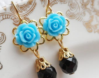 75% Off Price Sale, Blue Rose Flower, Gold Tone Filigree, Czech Glass Bead