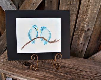 Original hand painted Lovebirds, Blue birds, Wedding gift, Anniversary gift, Wall art, Watercolor art, Matted artwork, Birds on branch, Love