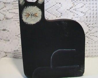 Vintage Wood Black Cat Folk Art Whimsical Wooden Halloween Home Decor