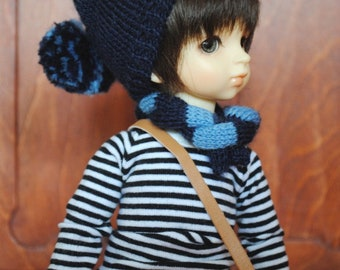 Hand knitted hat and scarf for YOSD/MSD (6-7 size head)