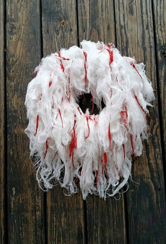 Halloween Wreath, Gossamer White Bloody Gauze Wreath