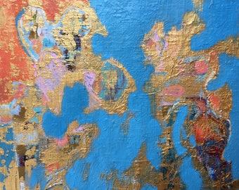 Original Acrylic Abstract Painting 8 x 10 on Canvas Panel Blue Orange Gold Modern Wall Art