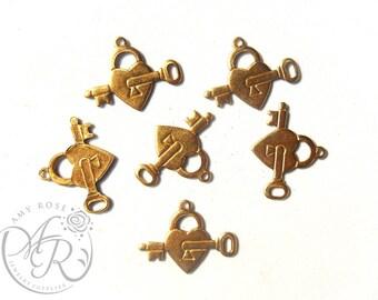 Raw Brass Heart and Key Charm, 6 pcs, 20x16mm