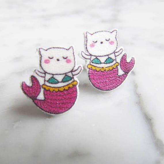 cat mermaid, purrmaid, white cat, pink, bikini cat, earring,  stud earring, print on plastic, stainless stud, handmade, les perles rares