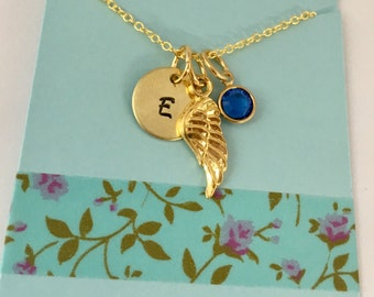 Wing Initial Necklace, Angel Wing Necklace, Wing Necklace,  Remembrance, Gold Wing Necklace, Monogram Necklace