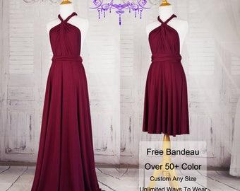 Burgundy Bridesmaid Dresses, gown convertible dress, long infinity dress, maternity dress, party dress, Wedding Dress C27# B27#