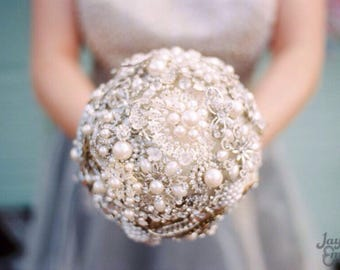 Crystal and pearl brooch keepsake alternative bouquet with beautiful ornate handle