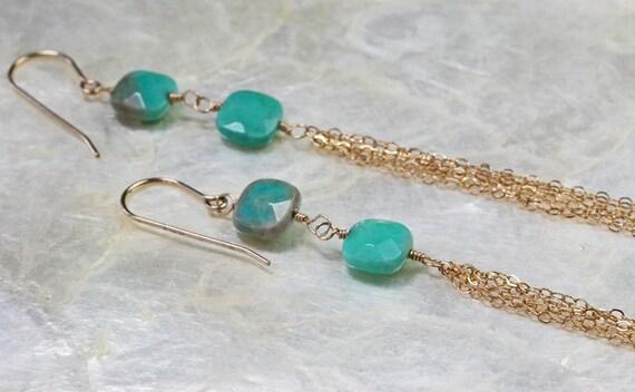 Tassel Earrings, Chain Earrings, Long Earrings, Tassel Chain Earrings, Green Stone Earrings, Gold Chain Earrings, Long Gold Earrings