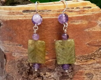 Carved Garnet and Amethyst Dangle Earrings