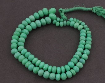 Memorial Day 1 Long Strand Natural Green Chalcedony Faceted Rondelles - Green Chalcedony Roundles Beads 5mm-10mm 17 Inches SB3277