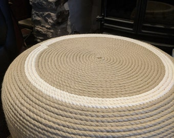Recycled Tyre Rope Footstool With White Cotton Ring