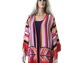 Southwestern fringe Kimono with wide sleeves-black, red,orange,yellow,pink-oversize-plus size