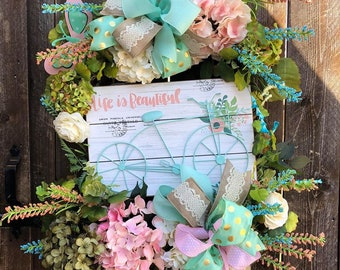 Bike Wreath, Summer Wreath, Spring Wreath, Grapevine