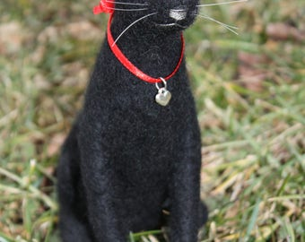 Needle Felted Black Cat wearing Sterling Silver Heart Charm