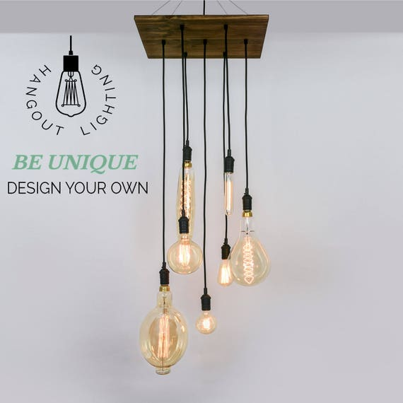 Custom 7 pendant wood chandelier x large edison bulbs aloadofball Choice Image