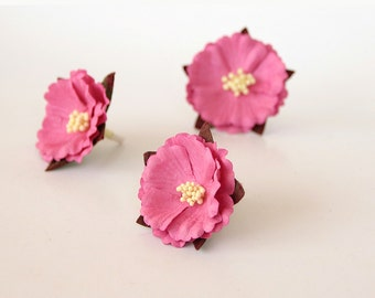 20 pcs - Medium pink mulberry paper CHINESE PEONIES - wholesale pack
