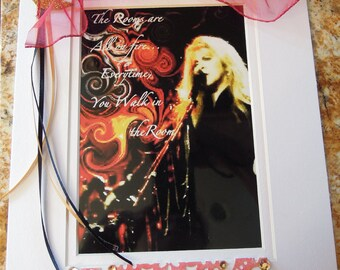 STEVIE NICKS Digital art collage with your Favorite Lyrics in Embellished Mat, other musicians on request