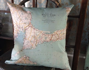 Vintage Cape Cod Map Pillow