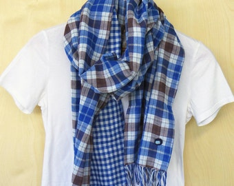 "Cotton scarf : reversible double gauze - blue, brown, gray and white tartan check / blue gingham check Japanese fabric - 13.5"" wide"