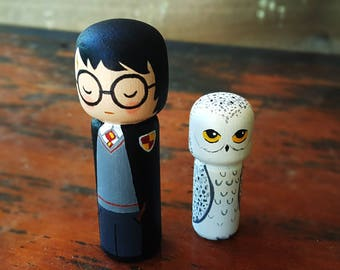 Wooden Doll Harry Potter and Hedwig Peg doll Kokeshi