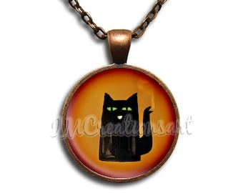 Coffee Cat Glass Dome Pendant or with Chain Link Necklace BF125